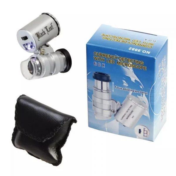 Lupa Microscopio Aumento 60x Luz Led Y Uv P Billetes Falsos